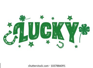 Lucky, Grunge Lettering Design, Vector