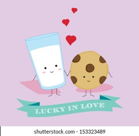 Lucky in Love Classic Milk and Cookies Couple