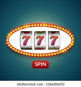 Lucky seven 777 slot machine. Casino vegas game. Gambling fortune chance. Win jackpot money.