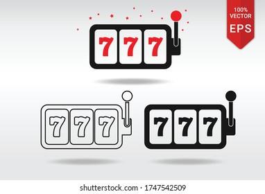 lucky seven 777 slot machine winner vegas vector illustration icon button outline set