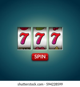 Lucky seven 777 slot machine. Casino vegas game. Gambling fortune chance. Win jackpot money.