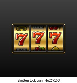 Lucky seven on slot machine. Vector.