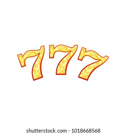 lucky seven slot machine font vector illustration