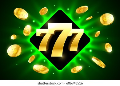 Lucky sevens bright casino banner with coins vector illustration