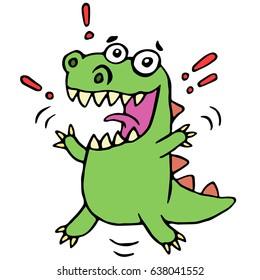 lucky smiling dinosaur. vector illustration. cute cartoon happy character.