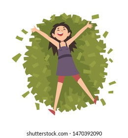 Lucky Successful Rich Girl Millionaire, Happy Wealthy Young Woman Lying on Pile of Money Vector Illustration
