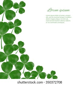 Lucky three-leaf clover shamrock corner frame. Vector Happy Saint Patrick's Day.  Background with watercolor clover