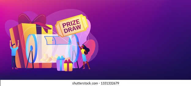 Lucky tiny people turning raffle drum with tickets and winning prize gift boxes. Prize draw, online random draw, promotional marketing concept. Header or footer banner template with copy space.