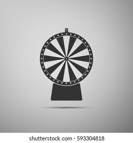 Lucky wheel flat icon on grey background. Vector Illustration