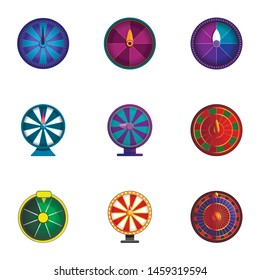 Lucky wheel icon set. Cartoon set of 9 lucky wheel vector icons for web design isolated on white background