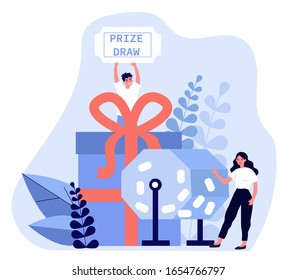Lucky winners turning raffle drum and getting prize gift boxes. People winning prize draw. Vector illustration for lottery, luck, fortune, gambling concept