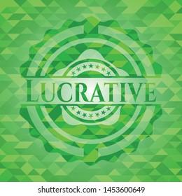 Lucrative green mosaic emblem. Vector Illustration. Detailed.