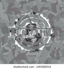 Lucrative grey camouflage emblem. Vector Illustration.