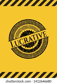 Lucrative grunge black emblem with yellow background, warning sign. Vector Illustration. Detailed.