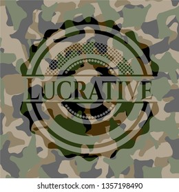 Lucrative on camouflaged texture