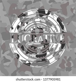 Lucrative on grey camouflage pattern