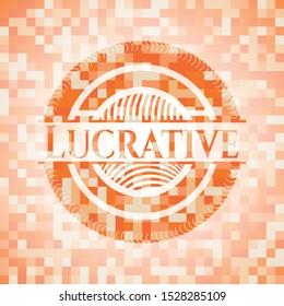 Lucrative orange tile background illustration. Square geometric mosaic seamless pattern with emblem inside.