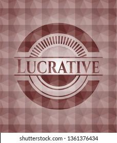 Lucrative red geometric emblem. Seamless.