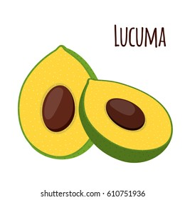 Lucuma, exotic fruit. Organic healthy superfood. Vegetarian nutrition. Cartoon flat style.