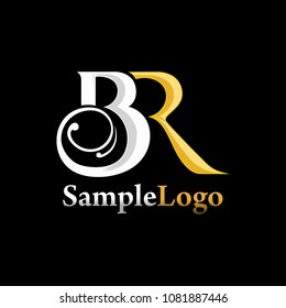 Lucury Ornament BR letter logo