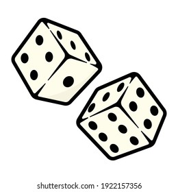 Ludo Dice two pairs Vector  illustration. black and white color ludo dice