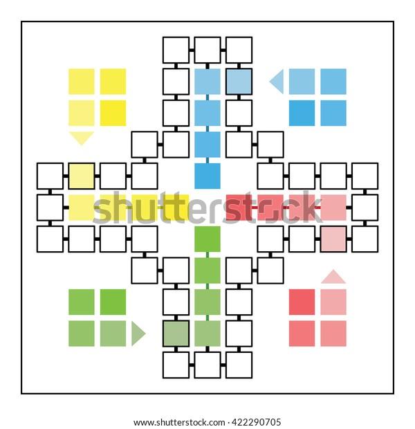 Ludo Game Board Vector Template Family Stock Vector Royalty