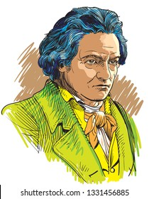 Ludwig van Beethoven (1770-1827) portrait in line art illustration. He was a German composer and the predominant musical figure in the transitional period between the Classical and Romantic eras.