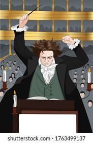 Ludwig van Beethoven (1770-1827) portrait in line art illustration.