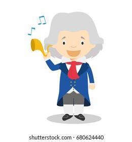 Ludwig van Beethoven cartoon character. Vector Illustration. Kids History Collection.