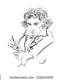 Ludwig van Beethoven. German composer and pianist. Portrait. Black and white drawing.