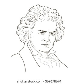 Ludwig van Beethoven. Sketch illustration. Black and white. Vector.