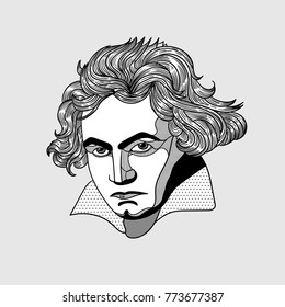 Ludwig van Beethoven. Vector illustration hand drawn.