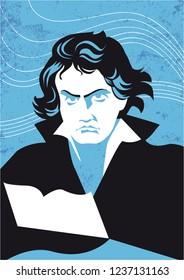 Ludwig van Beethoven vector portrait