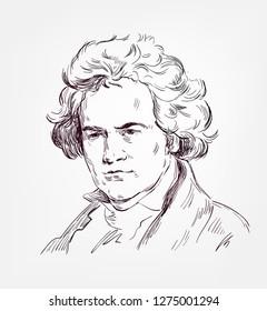 Ludwig van Beethoven vector sketch portrait famous