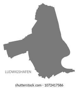 Ludwigshafen city map grey illustration silhouette shape
