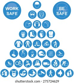 lue and white construction manufacturing and engineering health and safety related pyramid icon collection isolated on white background with work safe message