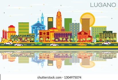 Lugano Switzerland Skyline with Color Buildings, Blue Sky and Reflections. Vector Illustration. Business Travel and Tourism Illustration with Historic Architecture. Lugano Cityscape with Landmarks.