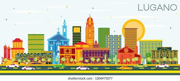 Lugano Switzerland Skyline with Color Buildings and Blue Sky. Vector Illustration. Business Travel and Tourism Illustration with Historic Architecture. Lugano Cityscape with Landmarks.