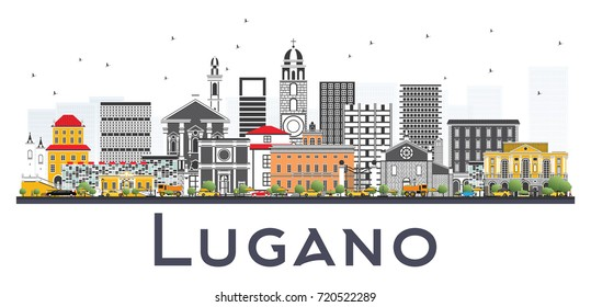 Lugano Switzerland Skyline with Gray Buildings Isolated on White Background. Vector Illustration. Business Travel and Tourism Illustration with Historic Architecture.