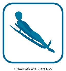 Luge emblem. Two color icon of the Luger. One of the pictogram from winter sports icons set. Vector illustration EPS-8.