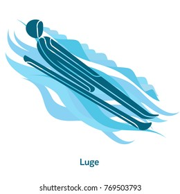 Luge icon. Olympic species of events in 2018. Winter sports games icons, vector pictograms for web, print and other projects. Vector illustration isolated on a white background