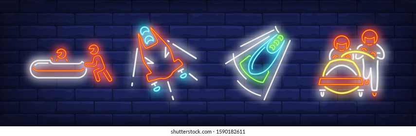 Luge neon signs set. Bobsled, bobsleigh, track, skeleton. Vector illustration in neon style, bright banner for topics like winter sport, championship, Olympic games