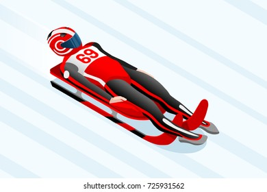Luge sled race athlete winter sport man vector 3D isometric icon.