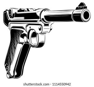 Luger P08 Parabellum retro pistol vector illustration.