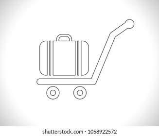 luggage cart outline icon