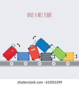 luggage colorful background flat design with space & text - have a nice flight.suitcase on conveyor belt. Baggage claim of passengers at airport vector flat design illustration. modern travel bags