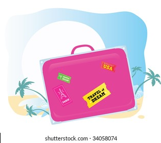 Luggage. Going to exotic vacation! Vector suitcase â?? you should easy to change color and size.