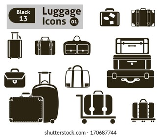luggage icons. Vector set for your design