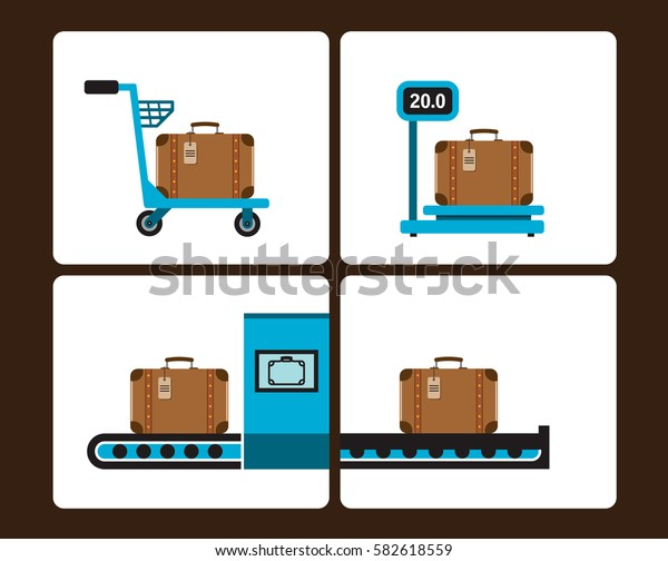 Luggage Infographics set with cart, weight scale, security screening, transporter and other elements. Vector illustration, icons