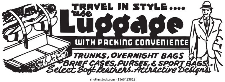 Luggage With Packing Convenience - Retro Ad Art Banner